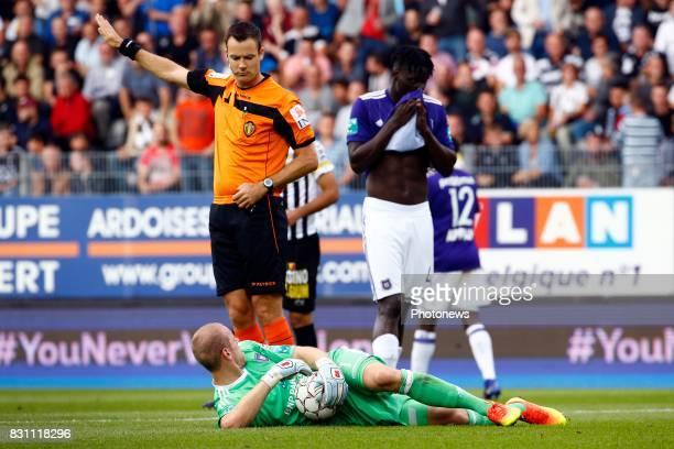 referee and Matz Sels goalkeeper of RSC Anderlecht and Kara Serigne Modou Mbodji defender of RSC Anderlecht pictured during the Jupiler Pro League...