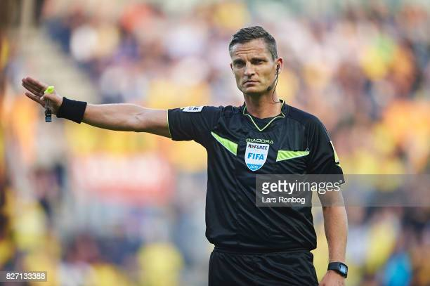 Referee Anders Poulsen gestures during the Danish Alka Superliga match between Brondby IF and FC Copenhagen at Brondby Stadion on August 6 2017 in...