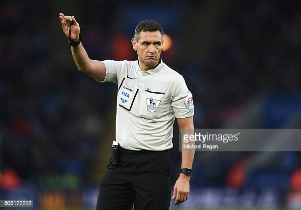 Referee Andre Marriner gestures during the Barclays Premier League match between Leicester City and Bournemouth at The King Power Stadium on January...