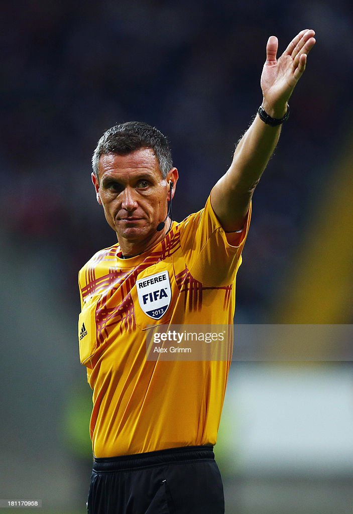 Referee Andre Marriner gestures during the UEFA Europa League Group F match between Eintracht Frankfurt and FC Girondins de Bordeaux at Commerzbank...