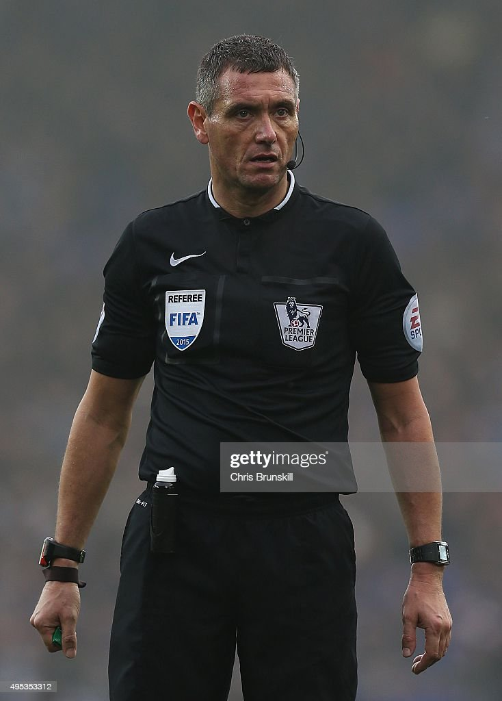 Referee Andre Marriner looks on during the Barclays Premier League match between Everton and Sunderland at Goodison Park on November 1 2015 in...