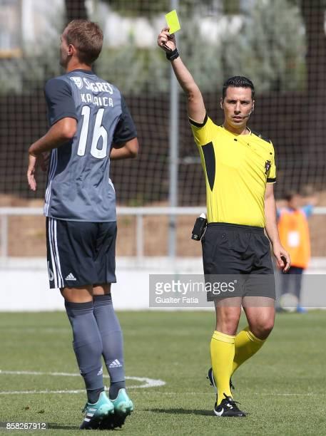 Referee Andre Narciso in action during the Segunda Liga match between CD Cova da Piedade and SL Benfica B at Estadio Municipal Jose Martins Vieira on...