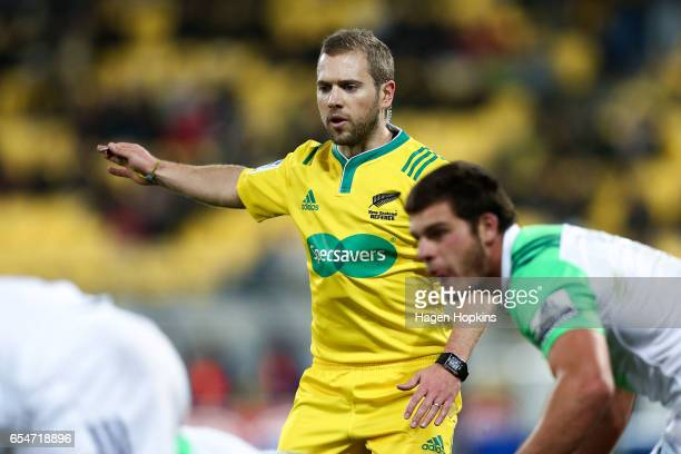Referee Angus Gardner of Australia in action during the round four Super Rugby match between the Hurricanes and the Highlanders at Westpac Stadium on...