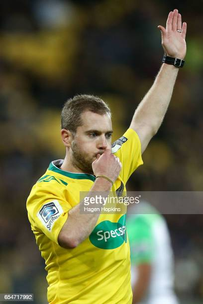 Referee Angus Gardner of Australia makes a call during the round four Super Rugby match between the Hurricanes and the Highlanders at Westpac Stadium...