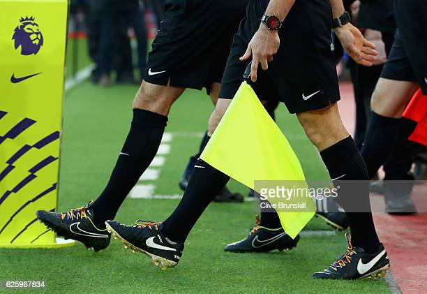Referee Anthony Taylor and his linesmen wear rainbow laces during the Premier League match between Liverpool and Sunderland at Anfield on November 26...
