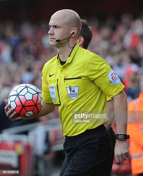 Referee Anthony Taylor before the Barclays Premier League match between Arsenal and Manchester United at Emirates Stadium on October 4 2015 in London...