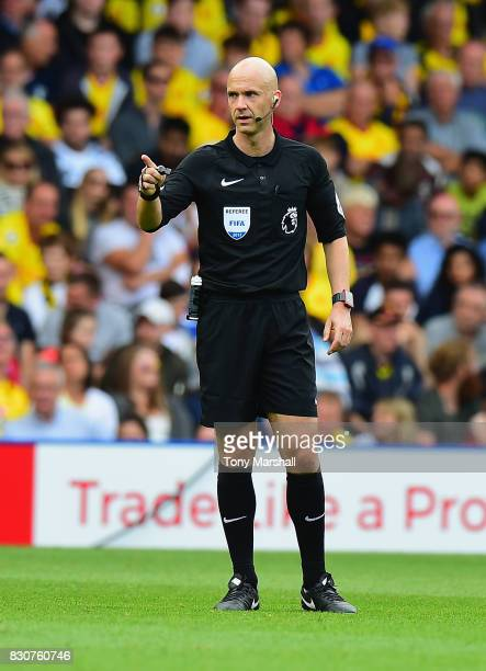 Referee Anthony Taylor during the Premier League match between Watford and Liverpool at Vicarage Road on August 12 2017 in Watford England