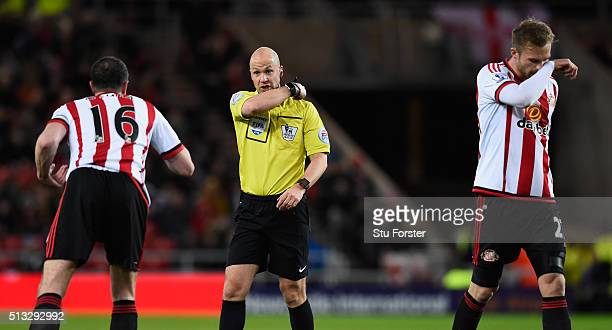 Referee Anthony Taylor in action during the Barclays Premier League match between Sunderland and Crystal Palace at Stadium of Light on March 1 2016...