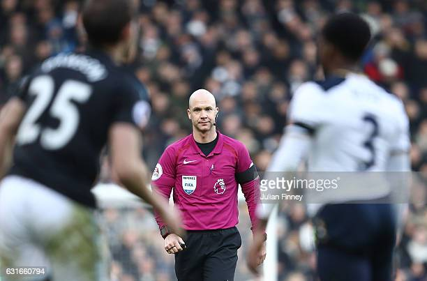 Referee Anthony Taylor looks on during the Premier League match between Tottenham Hotspur and West Bromwich Albion at White Hart Lane on January 14...