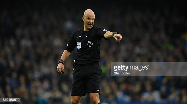 Referee Anthony Taylor reacts during the Premier League match between Everton and West Ham United at Goodison Park on October 30 2016 in Liverpool...