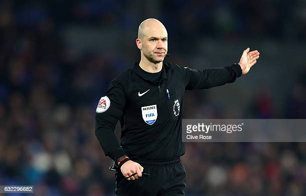 Referee Anthony Taylor signals during the Premier League match between Crystal Palace and Everton at Selhurst Park on January 21 2017 in London...