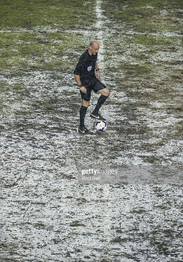 Referee Anthony Taylor stands with the ball before the begining of the second half during the Barclays Asia Trophy Final match between Manchester City and Sunderland at Hong Kong Stadium on July 27, 2013 in So Kon Po, Hong Kong.