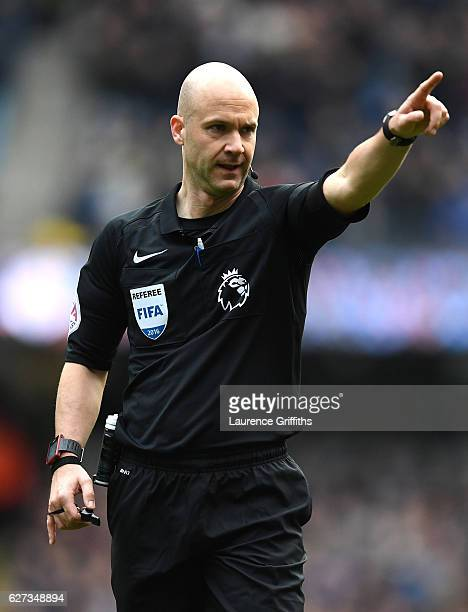 Referee Anthony Taylor us seen during the Premier League match between Manchester City and Chelsea at Etihad Stadium on December 3 2016 in Manchester...