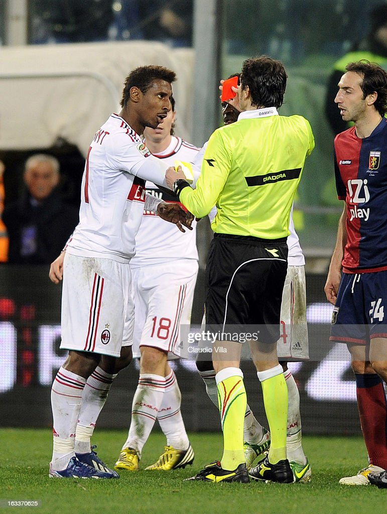 Referee Antonio Damato shows the red card to <a gi-track='captionPersonalityLinkClicked' href=/galleries/search?phrase=Cristian+Zapata&family=editorial&specificpeople=854055 ng-click='$event.stopPropagation()'>Cristian Zapata</a> of AC Milan during the Serie A match between Genoa CFC and AC Milan at Stadio Luigi Ferraris on March 8, 2013 in Genoa, Italy.