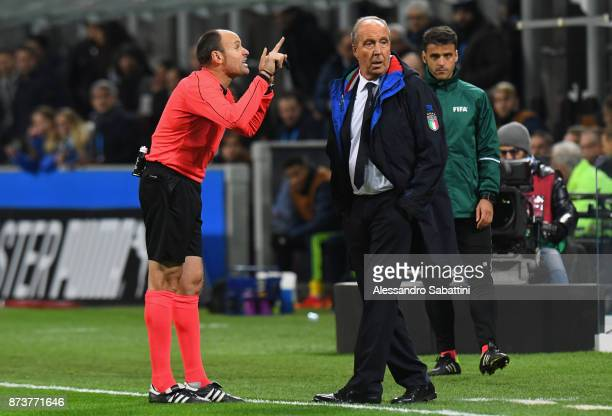 referee Antonio Mateu Lahoz talks to head coach Gian Piero Ventura of Italy during the FIFA 2018 World Cup Qualifier PlayOff Second Leg between Italy...