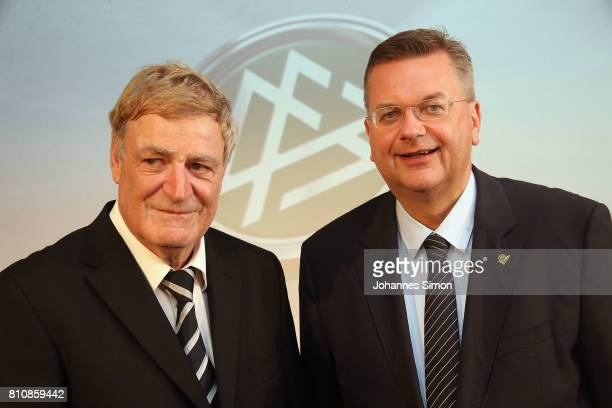 Referee Arno Schmidhuber and Reinhard Grindel head of the DFB during the awarding ceremony 'Referee Of The Year' on July 8 2017 in Grassau Germany