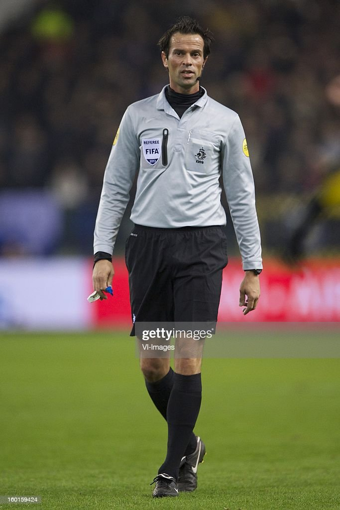 referee Bas Nijhuis during the Dutch Eredivise match between Vitesse Arnhem and Ajax Amsterdam at the Gelredome on January 27, 2013 in Arnhem, The Netherlands.