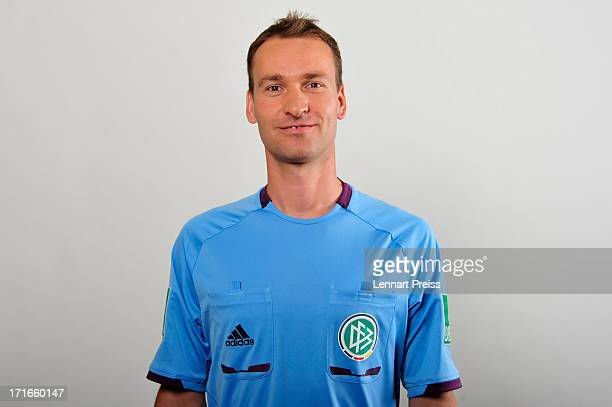 Referee Bastian Dankert poses during the DFB referee team presentation on June 27 2013 in Grassau Germany