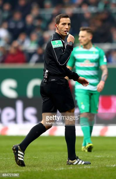 Referee Benjamin Brand blows the whistle during the Bundesliga match between Werder Bremen and Borussia Moenchengladbach at Weserstadion on February...