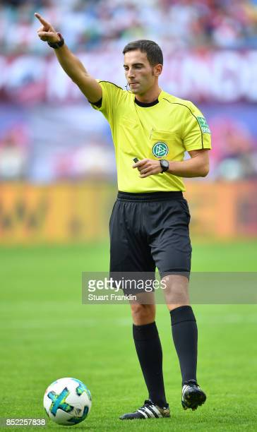 Referee Benjamin Brand during the Bundesliga match between RB Leipzig and Eintracht Frankfurt at Red Bull Arena on September 23 2017 in Leipzig...