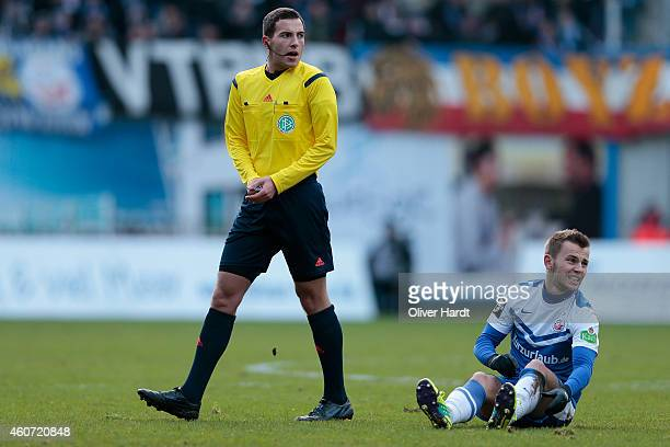 Referee Benjamin Brand in action during the Third League match between Hansa Rostock and Holstein Kiel at DKBArena on December 20 2014 in Rostock...