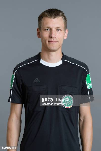 Referee Benjamin Brand poses during the DFB referee team presentation on July 5 2017 in Grassau Germany
