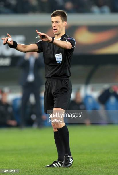 Referee Benoit Bastien during UEFA Europa League Round of 32 match between KAA Gent and Tottenham Hotspur at Ghelamco Arena Ghent Belgium 16 Feb 2017