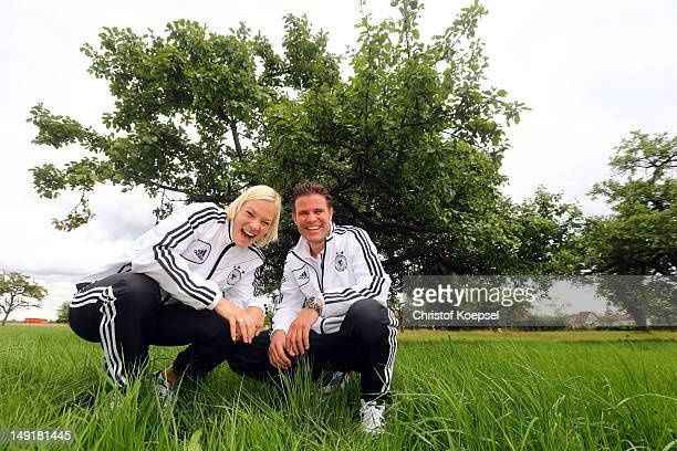 Referee Bibiana Steinhaus and referee Felix Brych pose during the DFB referee meeting at Dekra Headquarter on July 14 2012 in Altensteig Germany