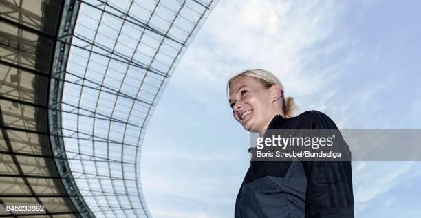 Referee Bibiana Steinhaus arrives at the stadium prior to the Bundesliga match between Hertha BSC and SV Werder Bremen at Olympiastadion on September...