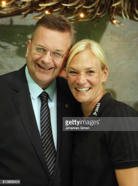 Referee Bibiana Steinhaus awarded as referee of the year 2017 and Reinhard Grindel head of the DFB prior to the awarding ceremony on July 8 2017 in...