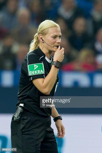Referee Bibiana Steinhaus controls the ball during the Bundesliga match between FC Schalke 04 and 1 FSV Mainz 05 at VeltinsArena on October 20 2017...