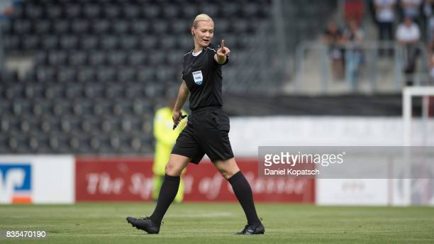 Referee Bibiana Steinhaus during the 3 Liga match between SG Sonnenhof Grossaspach and VfR Aalen at on August 19 2017 in Grossaspach Germany