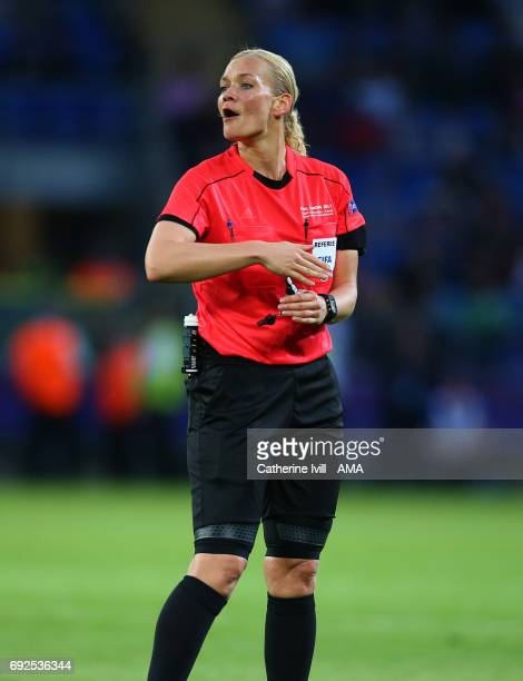 Referee Bibiana Steinhaus during the UEFA Women's Champions League Final match between Lyon and Paris Saint Germain at Cardiff City Stadium on June 1...