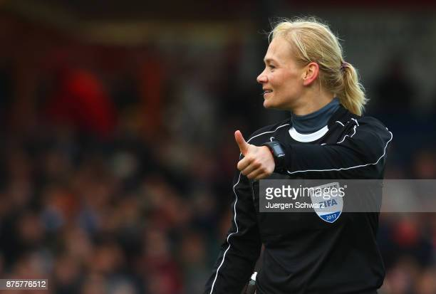Referee Bibiana Steinhaus gives instructions during the 3 Liga match between SC Fortuna Koeln and 1 FC Magdeburg at Suedstadion on November 18 2017...