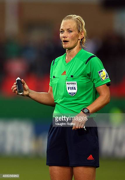 Referee Bibiana Steinhaus in action during the FIFA U20 Women's World Cup Canada 2014 Quarter Final match between Korea DPR and the United States at...