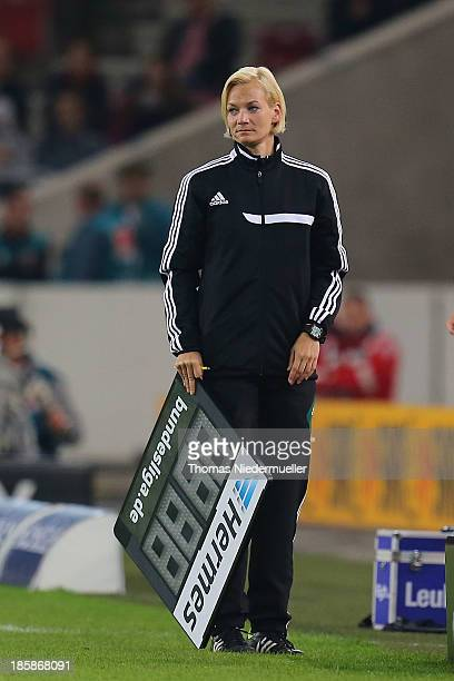 Referee Bibiana Steinhaus looks on during the Bundesliga match between VfB Stuttgart and 1FC Nuernberg at MercedesBenz Arena on October 25 2013 in...