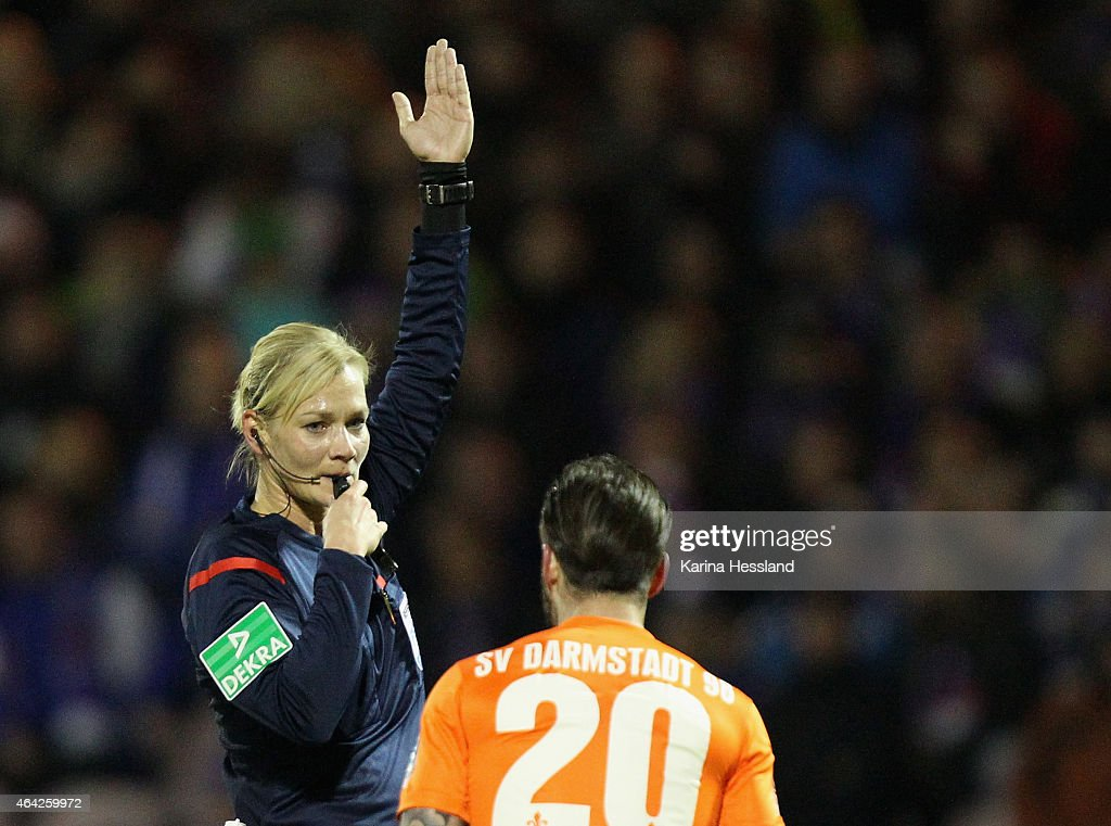 Referee <a gi-track='captionPersonalityLinkClicked' href=/galleries/search?phrase=Bibiana+Steinhaus&family=editorial&specificpeople=2299795 ng-click='$event.stopPropagation()'>Bibiana Steinhaus</a> reacts during the Second League match between FC Erzgebirge Aue and SV Darmstadt 98 at Sparkassen-Erzgebirgsstadion on February 20, 2015 in Aue, Germany.