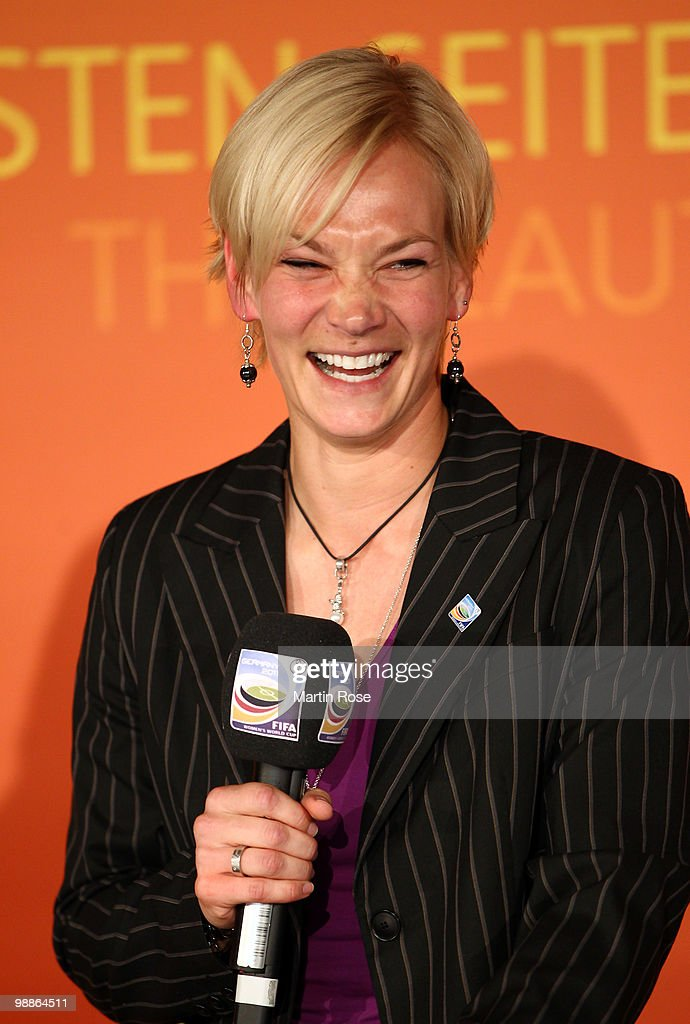 Referee <a gi-track='captionPersonalityLinkClicked' href=/galleries/search?phrase=Bibiana+Steinhaus&family=editorial&specificpeople=2299795 ng-click='$event.stopPropagation()'>Bibiana Steinhaus</a> talsk to the audience during the FIFA Women's World Cup 2011 Countdown event at the Volkswagen Arena on May 5, 2010 in Wolfsburg, Germany.