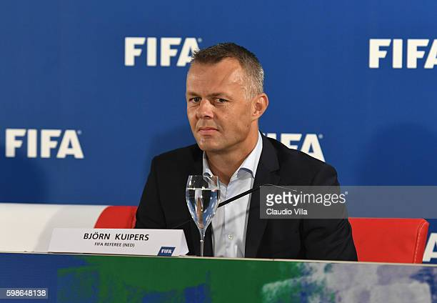 Referee Bjorn Kuipers attends FIFA First 'offline' VAR test press conference at Stadio San Nicola on September 2 2016 in Bari Italy
