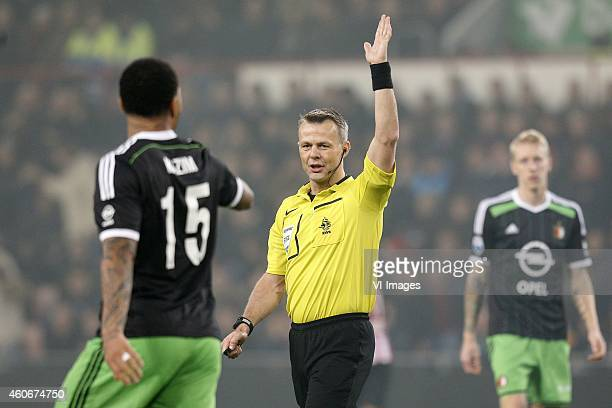 Referee Bjorn Kuipers Colin KazimRichards of Feyenoord during the Dutch Eredivisie match between PSV Eindhoven and Feyenoord at the Phillips stadium...