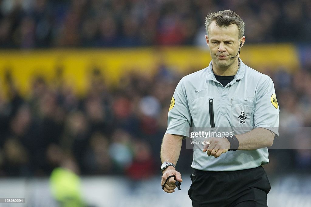referee Bjorn Kuipers during the Dutch Eredivise match between Feyenoord and FC Groningen at stadium De Kuip on December 23, 2012 in Rotterdam, The Netherlands.