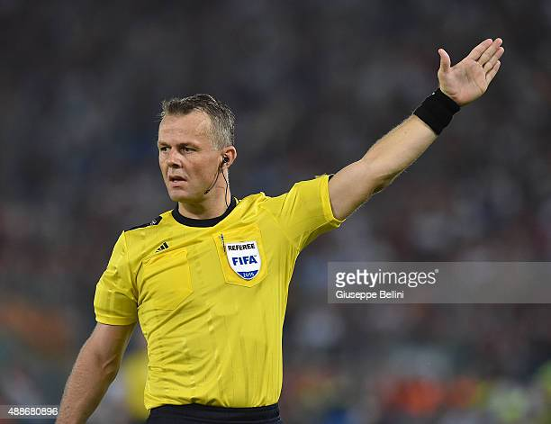 Referee Bjorn Kuipers during the UEFA Champions League Group E match between AS Roma and FC Barcelona at Olimpico Stadium on September 16 2015 in...