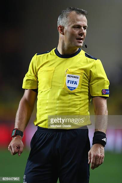 Referee Bjorn Kuipers of Holland during the UEFA Champions League Group E match between AS Monaco FC and Tottenham Hotspur FC at Louis II Stadium on...
