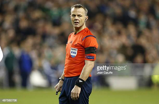 Referee Bjorn Kuipers of Netherlands looks on during the UEFA EURO 2016 qualifier playoff second leg match between Republic of Ireland and Bosnia and...