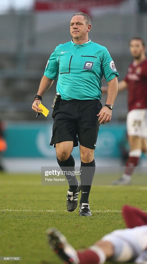 Referee Brendan Molone in action during the Sky Bet League Two match between Northampton Town and York City at Sixfields Stadium on February 6, 2016 in Northampton, England.