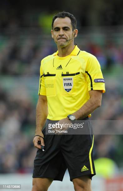 Referee Carlos Velasco Carballo of Spain during the UEFA Europa League Final between FC Porto and SC Braga at the Dublin Arena on May 18 2011 in...