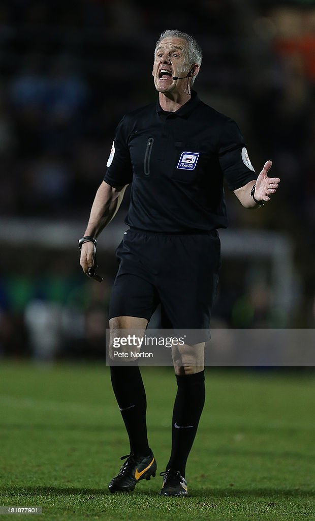 Referee <a gi-track='captionPersonalityLinkClicked' href=/galleries/search?phrase=Chris+Foy+-+Referee&family=editorial&specificpeople=696483 ng-click='$event.stopPropagation()'>Chris Foy</a> in action during the Sky Bet League One match between Coventry City and Bradford City at Sixfields Stadium on April 1, 2014 in Northampton, England.