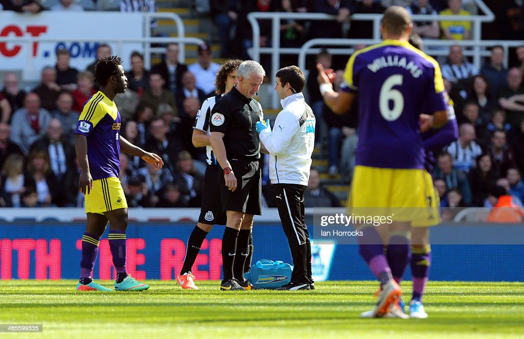 Referee Chris Foy recieves treatment after the official was hit in the face by the ball during the Barclays Premier League match between Newcastle United and Swansea City at St James' Park on April 19, 2014 in Newcastle upon Tyne, England.