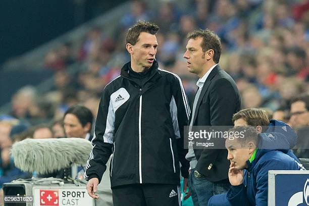 referee Christian Bandurski and coach Markus Weinzierl of Schalke looks on during the Bundesliga match between FC Schalke 04 and Bayer 04 Leverkusen...