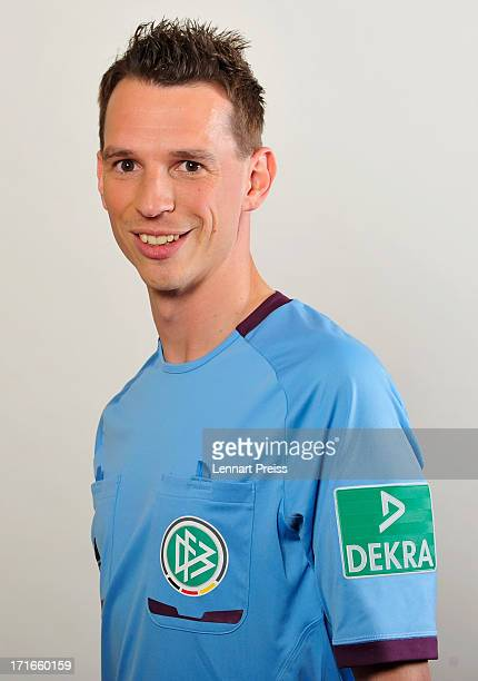Referee Christian Bandurski poses during the DFB referee team presentation on June 27 2013 in Grassau Germany